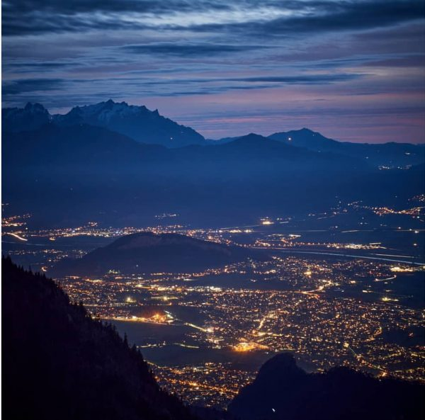 Last Friday I went to the Staufenspitze after sunset and took a few pictures. One direction Hohenems...