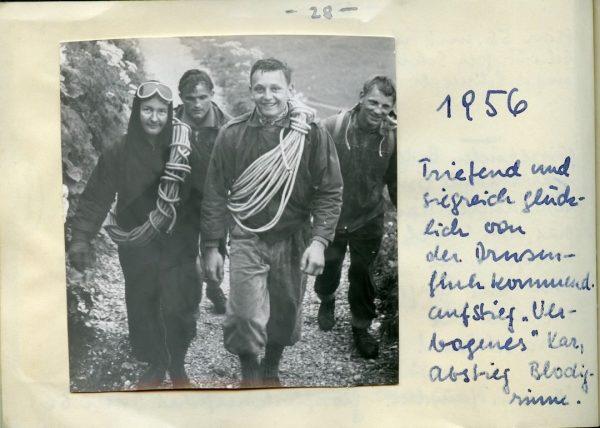 Aus dem Tourenbuch einer Bergsteigerin im Jahr 1956: