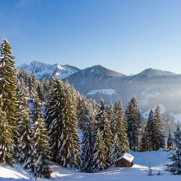 Winterstimmung im Bregenzerwald. ❄ Blick vom Rundweg in Furx über das Tal der ...