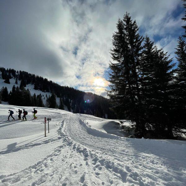 Es braucht nur einen schlechten Wetterbericht: Sonne, kein Mensch im Skigebiet, Jause an ...