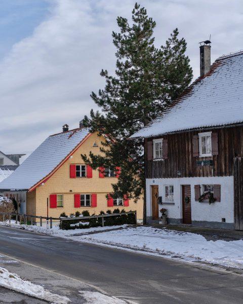01/01/2020 Austria Vorarlberg Fluh bei Bregenz Vorarlberger Baustil, fotografiert im Zuge einer Wanderung ...