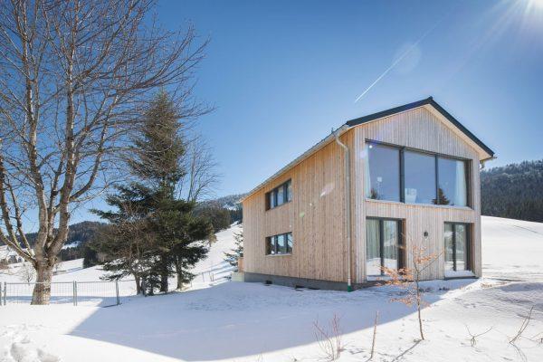 house O -wood, snow and blue sky  fotocredits petra rainer  #vorarlberg ...