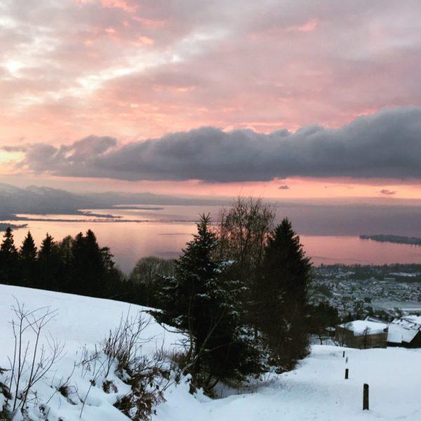Das Farbenspiel beim Winterwandern am Eichenberg lässt den Blick in die Ferne schweifen ❄️🌲 #hotelrestaurantschönblick #gourmetrestaurant #sonnenuntergang...