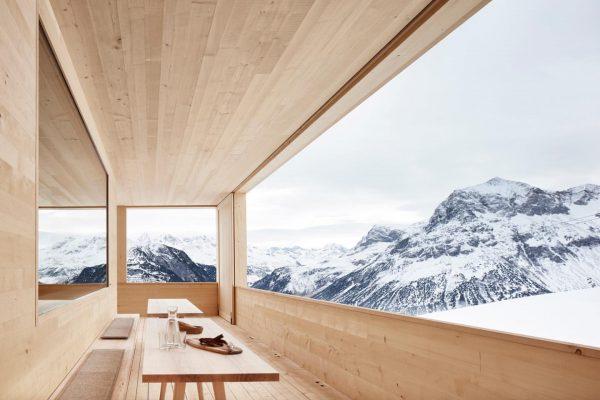 Skihütte Wolf, 2016 Schützender Schopf mit Panoramablick. #bernardobaderarchitects #winter #snow #ski #derwolf #wolf ...