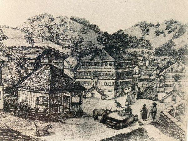 🌲⛰🌲Die historische Darstellung zeigt den Schwarzenberger Dorfplatz zu Zeiten von Angelika Kauffmann etwa ...