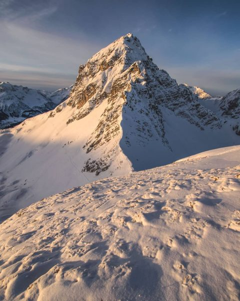 The Karhorn in the morning light seen on a skitour to the Warther ...