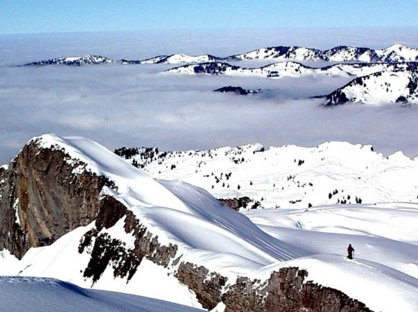 Alpenrand - edge of the Alps. Thick clouds cover the low land of ...