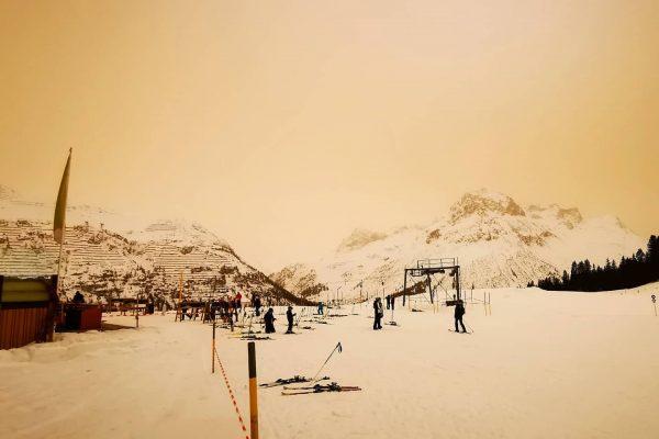 Gestern kam der Saharastaub auch bei uns an - außergewöhnliche Stimmung am Berg ...