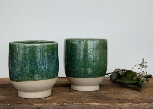 | glossy green glaze Two new cups in my ceramics collection with a ...