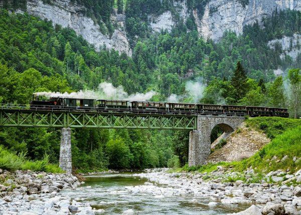 Steamtrain in an alpine setting #steamtrain #railway #railwaybridge #alpine #steamlocomotive #dampflok #dampflokomotive #heritagerailway ...