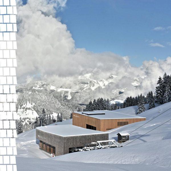 Ein Blick um's Eck zeigt uns, wie elegant sich eine Bergstation der Seilbahn ...
