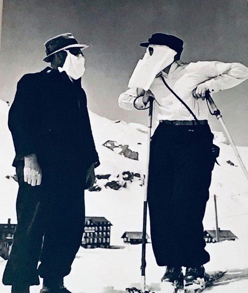 """Auch 1938 trugen #Skifahrer Masken, jedoch aus einem anderen Grund: """"Die #Höhensonne von ..."""