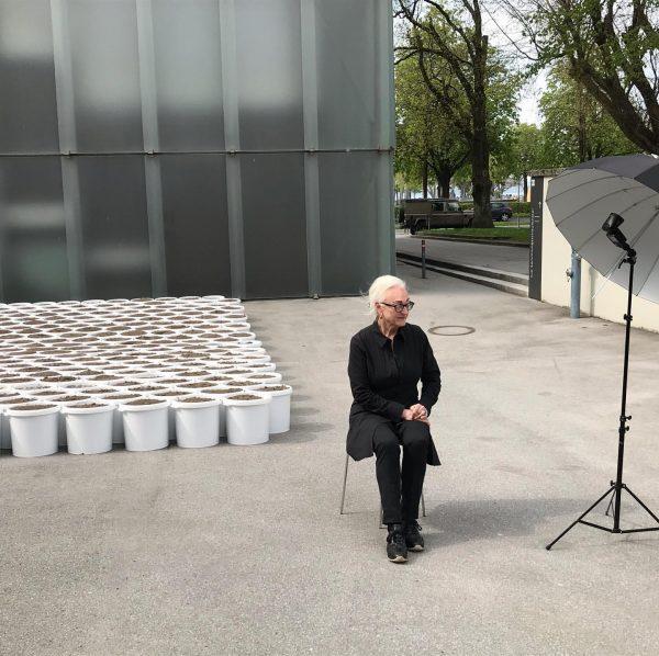 """Franziska Weinberger in front of """"Garden"""" #kubbasement #loisweinberger #kunsthausbregenz"""