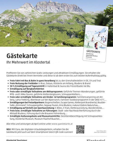 Gästekarte - ihr Mehrwert im Sommer 2021 im Klostertal! #klostertal #kloesterleamarlberg #vorarlberg #visitvorarlberg ...