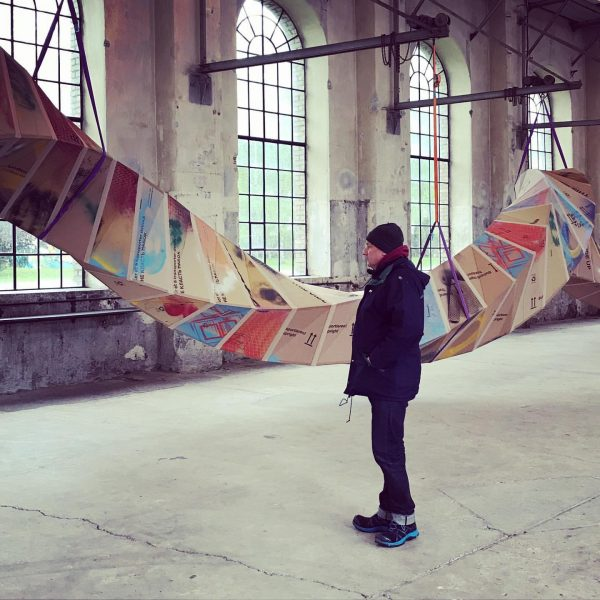 #petersandbichler #thomashäusle #kunstraumdornbirn #snake #cardboard #moduls #spiral
