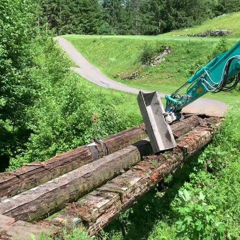 Endlich wurde das Holz für die Brücke geliefert. Morgen noch und dann dürft ...