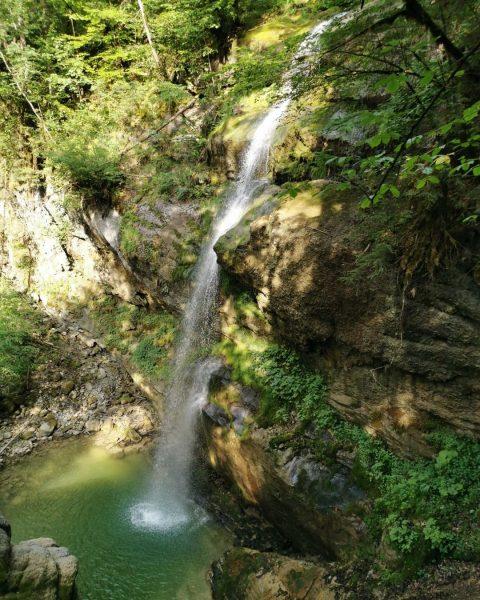 Wer hinunter zum Fallbachtobel wandert, findet diesen reizvollen Wasserfall. Ideal für eine Abkühlung ...