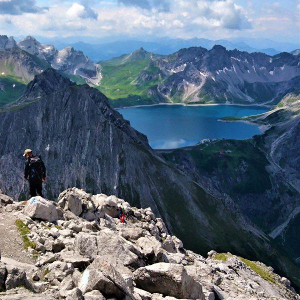 Mountain Hike to Saulakopf 2517m with beautiful Lünersee in the back. Montafon, Austria. ...