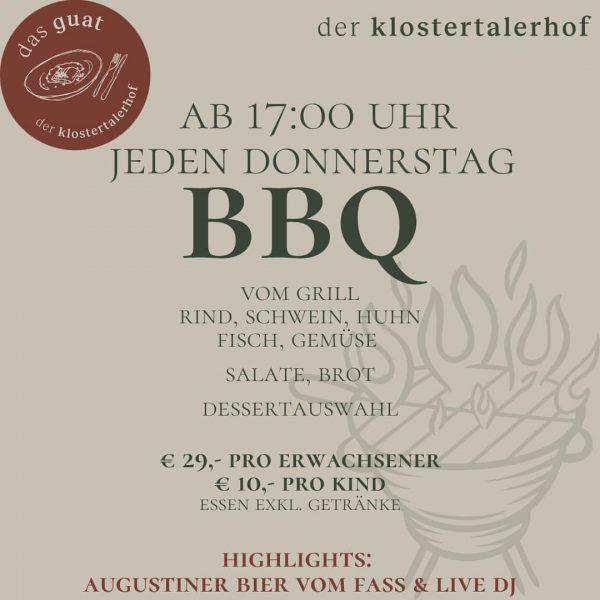 dein BBQ. DONNERSTAG ab 17 Uhr #dasguat #restaurant #derklostertalerhof #hotel #genießen #grillen #bbq ...