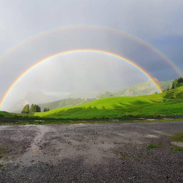 Ist die Natur nicht einzigartig? #glücksgenussalpewildgunten #regenbogen #berge #mellaubregenzerwald #mellautourismus #mellau