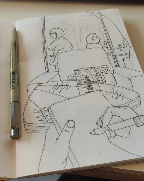 Little by little. Inking while having a coffee, while relaxing, while disconnecting from ...