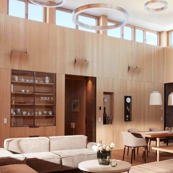 Ein Quantensprung Bungalow in Altach. Über den zentralen Wohnraum werden die intimeren Räume ...
